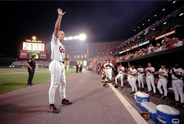 Cal Ripken, Jr. acknowledges the crowd during a stoppage of play commemerating his 2,131st consecutive game on September 6th, 1996 at Camden Yards. Ripken would go on to play in 2,652 consecutive games. Mandatory Image Credit: Karl Merton Ferron