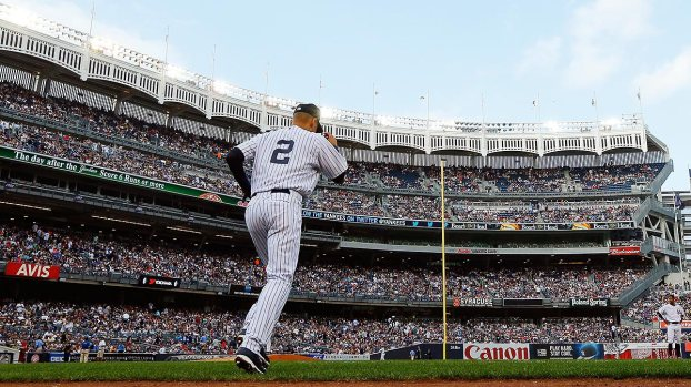 When Derek Jeter's number 2 is retired, all single-digit Yankees uniforms will be unavailable. Jeter is expected to be a member of the Major League Baseball Hall of Fame Class of 2020. Mandatory Image Credit: Grantland