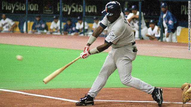 Tony Gwynn collecting his 3,000th career hit on August 6th, 1999 Mandatory Image Credit: CNN