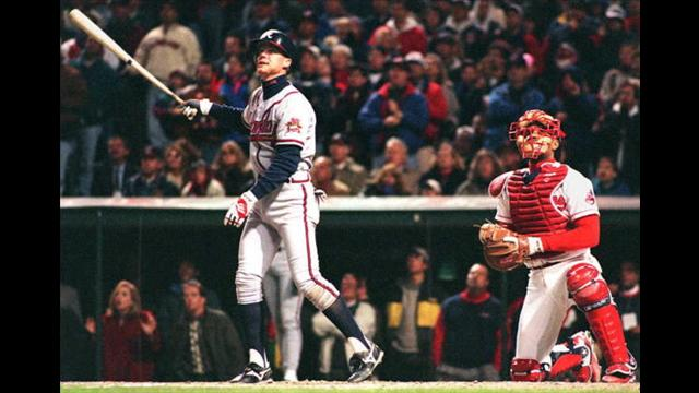 Chipper  Jones watches the flight of a ball during the 1995 World Series against the Cleveland Indians.  Mandatory Image Credit: 13wmaz.com