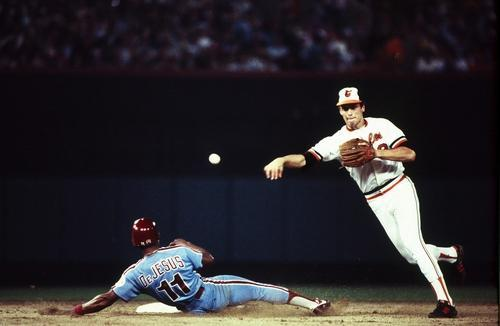 Cal Ripken, Jr. turning a double play during Game 2 of the 1983 World Series. The Orioles would go on to win the Series 4 games to 1 over the Phillies and Ripken would be named the 1983 American League Most Valuable Player. Mandatory Image Credit: Yahoo Travel