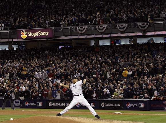 Returning to World Series glory, Mariano  Rivera pitches for the New York Yankees in Game 6 of the 2009 World Series. Mandatory Image Credit: riveraveblues.com
