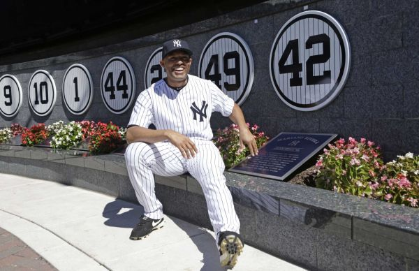 Mariano  Rivera with his retired 42 jersey marker in Monument Park at Yankee Stadium.  Rivera is expected to be elected to the Hall of Fame in the Class of 2019.  Mandatory Image Credit: Newsday