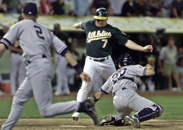 "Derek Jeter saved a lead and possibly the Yankees' season with ""The Flip"" in Game 3 of the 2001 ALDS. Mandatory Image Credit: New York Daily News"