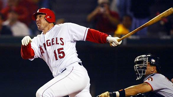 "Tim  Salmon, known to Angels fans as ""King Fish,"" was part of an Angels franchise that saw the balance of baseball power in Southern California shift from Los Angeles to Anaheim during the 1990's and early 2000's.  Mandatory Image Credit: Los Angeles Times"