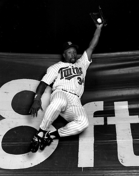 A career .319 hitter, Puckett was more than just an offensive player.  Puckett stood out defensively in center field as well, winning the Gold Glove award as an outfielder 6 times.  Mandatory Image Credit: Vesphoto.com