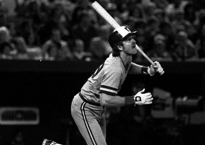 Milwaukee Brewers Robin  Yount watches his double drop in the sixth inning of Game 1 of the World Series, against the St. Louis Cardinals, in St. Louis, in this Oct. 12, 1982 photo.  Mandatory Image Credit: jsonline.com