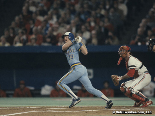 Robin  Yount batting in the 1982 World Series against the St. Louis Cardinals.  Mandatory Image Credit: onmilwaukee.com