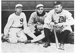 Eddie Collins (L) with Lena Blackbourne (C) and of course, Ty Cobb (R). Mandatory Credit: baseballrubbingmud.com