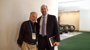 John Smoltz and author Dan Schlossberg at the 2014 Winter Meetings in San Diego [photo by Perry Barber]